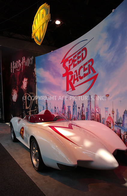 WWW.ACEPIXS.COM . . . . .....June 19, 2007. New York City.....The Mach 5 vehicle from the upcoming Warner Bros. film 'Speed Racer' is displayed at the Licensing Show at the Jacob Javits Center...  ....Please byline: Kristin Callahan - ACEPIXS.COM..... *** ***..Ace Pictures, Inc:  ..Philip Vaughan (646) 769 0430..e-mail: info@acepixs.com..web: http://www.acepixs.com