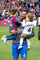 Luka Milivojevic of Crystal Palace and his 2 daughters during the EPL - Premier League match between Crystal Palace and West Bromwich Albion at Selhurst Park, London, England on 13 May 2018. Photo by Carlton Myrie / PRiME Media Images.