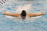 19 February 2016: Notre Dame's Nicole Smith competes in the 400 Individual Medley preliminary heat 4. The 2016 Atlantic Coast Conference Swimming and Diving Championships were held at the Greensboro Aquatic Center in Greensboro, North Carolina from February 17-27, 2016.