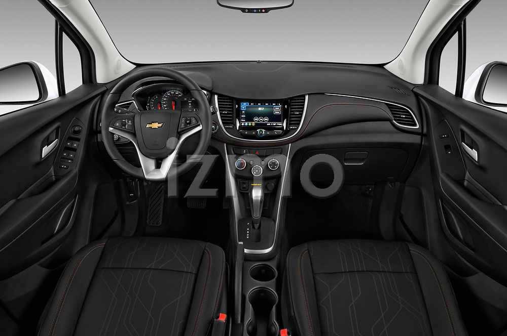 Stock photo of straight dashboard view of a 2019 Chevrolet Trax LT 5 Door SUV