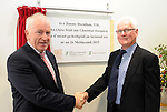 Minister of State for the Diaspora, Jimmy Deenihan T.D. unveils a plaque to officially open the the new &euro;3.5 million Irish language and enterprise development centre in Baile an Fheirt&eacute;araigh, Co Kerry where 2,500 students plan to attend courses worth &euro;7 million to the local economy pictured with  Tomas MacGearailt.<br /> <br /> Minister of State for the Diaspora, Jimmy Deenihan T.D. performed the official opening of the Irish language and enterprise centre - L&aacute;rionad Forbartha Gaeilge agus Gaeltachta in Baile an Fheirt&eacute;araigh on Friday. The new centre, which has an area of 1,400 square metres, will provide a range of Irish language based activities and courses, contains a number of enterprise units, and offers services and facilities for the local community.<br /> Photo: Don MacMonagle