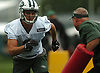 Chad Hansen #6, New York Jets wide receiver, works on evading blocks during the first team practice of training camp at the Atlantic Health Jets Training Center in Florham Park, NJ on Saturday, July 29, 2017.
