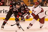 Ryan Shea (NU - 5), Alexander Kerfoot (Harvard - 14) - The Harvard University Crimson defeated the Northeastern University Huskies 4-3 in the opening game of the 2017 Beanpot on Monday, February 6, 2017, at TD Garden in Boston, Massachusetts.