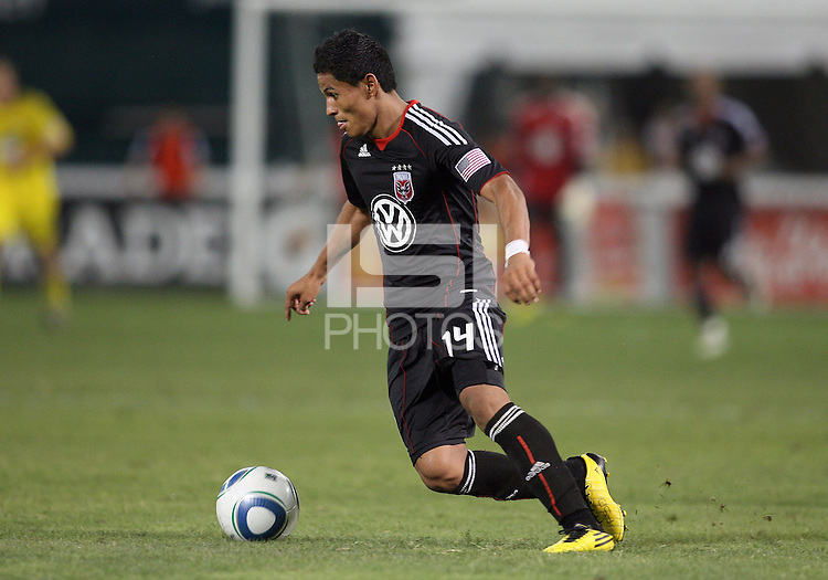 Andy Najar #14 of D.C. United during a US Open Cup semi final match against the Columbus Crew at RFK Stadium on September 1 2010, in Washington DC. Columbus won 2-1 aet.