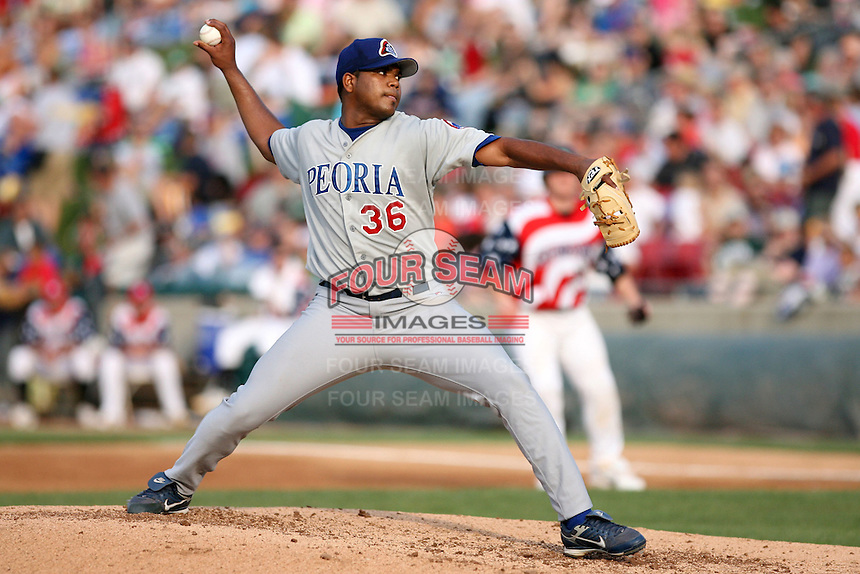 July 3rd 2007:  Jose Pina of the Peoria Chiefs at Elfstrom Stadium in Geneva, IL  Photo by:  Chris Proctor/Four Seam Images