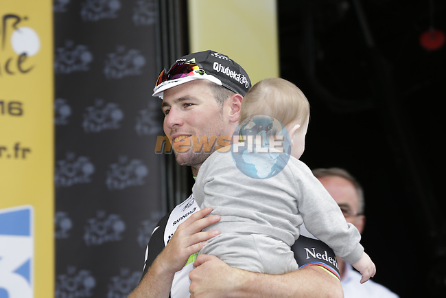 Mark Cavendish (GBR) Dimension Data wins Stage 3 of the 2016 Tour de France, running 223.5km from Granville to Angers, France . 4th July 2016.<br /> Picture: Eoin Clarke | Newsfile<br /> <br /> <br /> All photos usage must carry mandatory copyright credit (&copy; Newsfile | Eoin Clarke)