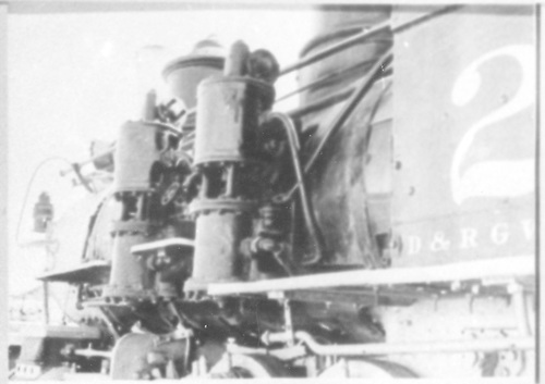 Detail of left-side air pumps and boiler.  (Dorman arranged this picture with the rest of #278 pictures.)<br /> D&amp;RGW