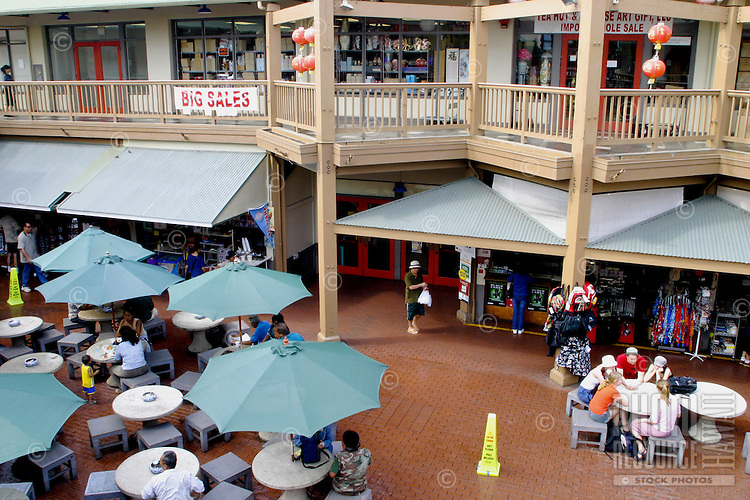 Maunakea Marketplace and food court is a popular place for shoppers to relax and enjoy a variety of chinese cuisine and the sights and sounds of Chinatown, downtown Honolulu, Oahu