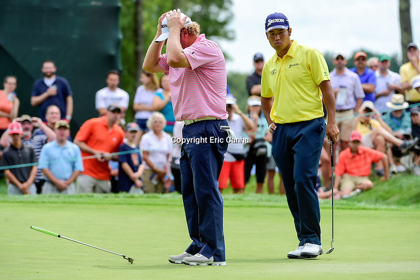 Saturday, September 3, 2016:  William McGirt (left) reacts to his putt on the on the fifth green during the second round of the Deutsche Bank Championship tournament held at the Tournament Players Club, in Norton, Massachusetts.  Eric Canha/Cal Sport Media