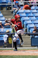 Altoona Curve second baseman Logan Ratledge (6) at bat during a game against the Binghamton Rumble Ponies on June 14, 2018 at NYSEG Stadium in Binghamton, New York.  Altoona defeated Binghamton 9-2.  (Mike Janes/Four Seam Images)