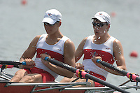 Beijing, CHINA, CAN, JM2X, bow,David WAKUKICH and Alexander SOUTTER, during the  2007. FISA Junior World Rowing Championships Shunyi Water Sports Complex. Wed. 08.08.2007  [Photo, Peter Spurrier/Intersport-images]..... , Rowing Course, Shun Yi Water Complex, Beijing, CHINA,