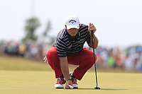 Patrick Reed (USA) lines up his ball on the 6th green during Friday's Round 2 of the 117th U.S. Open Championship 2017 held at Erin Hills, Erin, Wisconsin, USA. 16th June 2017.<br /> Picture: Eoin Clarke | Golffile<br /> <br /> <br /> All photos usage must carry mandatory copyright credit (&copy; Golffile | Eoin Clarke)