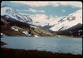 View of Trout Lake from the dam area. RGS water tank can be seen across lake in distance at center.<br /> RGS  Trout Lake, CO  Taken by Maxwell, John W. - Likely 5/29/1949