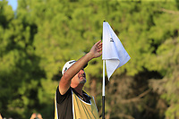 Justin Rose (ENG) caddy Mark Fulcher after they win the playoff hole and the tournament and also moves back to No.1 in the world at the end of Sunday's Final Round of the 2018 Turkish Airlines Open hosted by Regnum Carya Golf &amp; Spa Resort, Antalya, Turkey. 4th November 2018.<br /> Picture: Eoin Clarke | Golffile<br /> <br /> <br /> All photos usage must carry mandatory copyright credit (&copy; Golffile | Eoin Clarke)