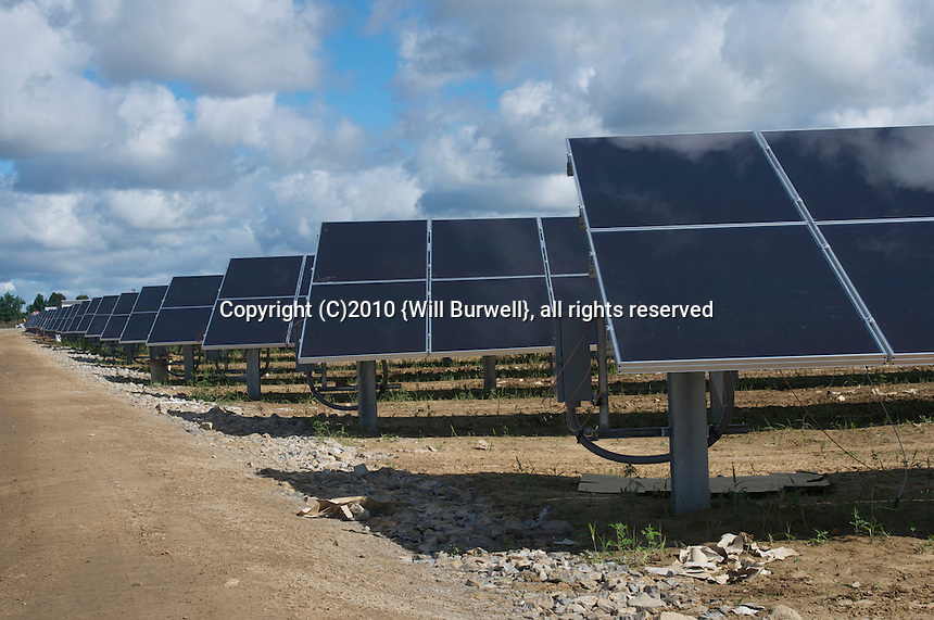 Rows of solar panels at a solar generation farm