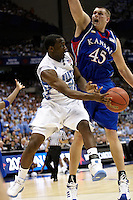 SAN ANTONIO, TX - APRIL 5, 2008: The University of Kansas Jayhawks face the University of North Carolina Tarheels in the second semi-final during the NCAA Men's Basketball Final Four at the Alamodome. (Photo by Jeff Huehn)