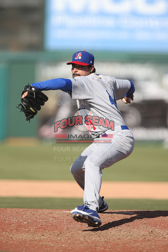 Andres Avila (44) of the Stockton Ports pitches during a game against the Inland Empire 66ers at The Hanger on April 11, 2015 in Lancaster, California. San Jose defeated Lancaster, 8-3. (Larry Goren/Four Seam Images)