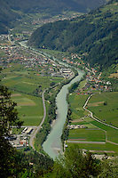 River Inn flowing through the alpine valley. Landeck area, Imst district, Tyrol, Tirol, Austria.