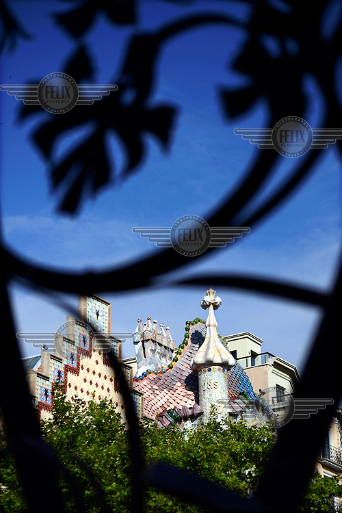The exterior of Antoni Gaudi's Casa Batllo in Passeig de Gracia. It was built between 1904 and 1906 on behalf of textile industrialist Josep Batllo.... /Felix Features