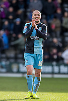 Michael Harriman of Wycombe Wanderers applauds the support during the Sky Bet League 2 match between Notts County and Wycombe Wanderers at Meadow Lane, Nottingham, England on 28 March 2016. Photo by Andy Rowland.