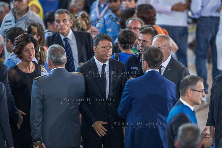 Matteo renzi during the Funeral earthquake on PalaSport Monticelli in Ascoli Piceno  August 27, 2016, in Marche, Italy. Photo by Adamo Di Loreto