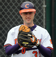Backup Clemson catcher Adam Ward warms up prior to a game between the Clemson Tigers and Mercer Bears on Feb. 24, 2008, at Doug Kingsmore Stadium in Clemson, S.C. Photo by: Tom Priddy/Four Seam Images