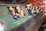 SSE Barge Restoration.L-R: Malcolm White (SSE), Wyn Mitchell (Monmouth, Brecon and Abergavenny Canal Trust). Bev Friend & Dave Binding (SSE). Richard Dommett MBE and Roger Francis (Monmouth, Brecon and Abergavenny Canal Trust)..Uskmouth Power Station.01.03.12.©STEVE POPE