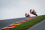The rider Marc Marquez and dani Pedrosa during the MotoGP race at the Grand Prix Sachsenring in Germany. 13/07/2014. Samuel de Roman / Photocall3000