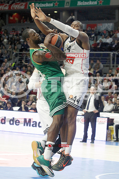 Real Madrid's Marcus Slaughter (r) and Panathinaikos Athens' James Gist during Euroleague match.January 22,2015. (ALTERPHOTOS/Acero) /NortePhoto<br />