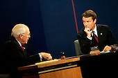 Cleveland, Ohio - October 5, 2004 -- United States Senator John Edwards (Democrat of North Carolina), the Democratic candidate for Vice President, right, listens as his rival, United States Vice President Dick Cheney, the Republican nominee, left, emphasizes a point in the first and only Vice Presidential debate held at Case Western Reserve University in Cleveland, Ohio on October 5, 2004..Credit: Jay L. Clendenin - Pool via CNP