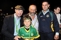 Gavin Keane with The Kerry team the team celebrates in Killarney on Monday night.<br /> Picture by Don MacMonagle