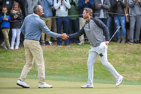 Matt Kuchar (USA) and Lucas Bjerregaard (DEN) shake hands following their match during day 5 of the WGC Dell Match Play, at the Austin Country Club, Austin, Texas, USA. 3/31/2019.<br /> Picture: Golffile | Ken Murray<br /> <br /> <br /> All photo usage must carry mandatory copyright credit (&copy; Golffile | Ken Murray)