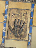 Hand print of the film star, Michael York, outside the Palais des Festivals et des Congres, Cannes, France.