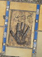 Hand print of the film star, Michael York, outside the Palais des Festivals et des Congres, Cannes, France.