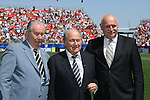 """22 July 2007: FIFA President Joseph """"Sepp"""" Blatter (center) poses with the President of the Asociacion del Futbol Argentino Julio Grondona (l) and the President of the Football Association of the Czech Republic Pavel Mokry (r) before the game. At the National Soccer Stadium, also known as BMO Field, in Toronto, Ontario, Canada. Argentina's Under-20 Men's National Team defeated the Czech Republic's Under-20 Men's National Team 2-1 in the championship match of the FIFA U-20 World Cup Canada 2007 tournament."""