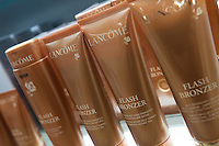 An assortment of Lancome self-tanners is seen on a shelf at a Jean Coutu Pharmacy in Quebec city March 4, 2009.
