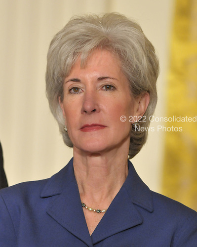 """Washington, D.C. - March 2, 2009 --  Governor Kathleen Sebelius (Democrat of Kansas), named by United States President Barack Obama as Secretary of the Department of Health and Human Services (HHS) in the East Room of the White House in Washington, DC on Monday, March 2, 2009.  The President also announced the release of $155 million authorized by the American Recovery and Reinvestment Act (ARRA) that will support 126 new health centers.  In a release, the White House stated """"These health centers will help people in need - many with no health insurance - obtain access to comprehensive primary and preventive health care services."""".Credit: Ron Sachs / Pool via CNP"""