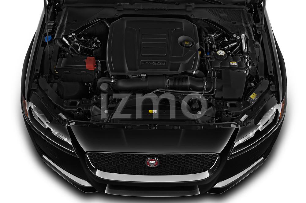 Car stock 2020 Jaguar XF Premium 4 Door Sedan engine high angle detail view