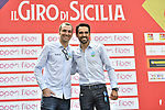 Alberto Contador (ESP) and Ivan Basso (ITA) at sign on before the start of Stage 1 of Il Giro di Sicilia running 165km from Catania to Milazzo, Italy. 3rd April 2019.<br /> Picture: LaPresse/Fabio Ferrari | Cyclefile<br /> <br /> <br /> All photos usage must carry mandatory copyright credit (© Cyclefile | LaPresse/Fabio Ferrari)