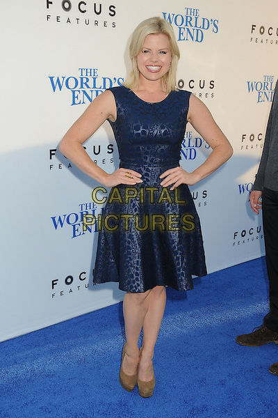 Megan Hilty<br /> 'The World's End'Los Angeles Premiere held at the Cinerama Dome, Hollywood, California, USA.<br /> August 21st, 2013<br /> full length dress hands on hips blue sleeveless <br /> CAP/ADM/BP<br /> &copy;Byron Purvis/AdMedia/Capital Pictures