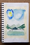 Kyuquot Sound, watercolor, Journal Art 2004,