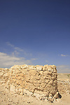 Israel, Negev. A tower at the lower city in Tel Arad