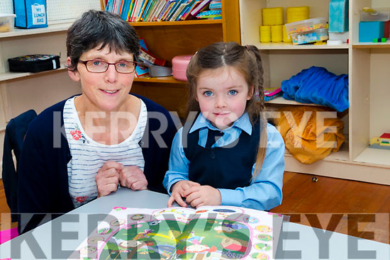Geraldine Lynch (teacher) with her only Junior Infants  Emma Diggin at Scoil Chríost Ri, Drummnacurra,Causeway