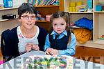 Geraldine Lynch (teacher) with her only Junior Infants  Emma Diggin at Scoil Chríost Ri, Drummnacurra,Causeway