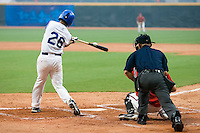 20 August 2007: Catcher #26 Jamel Boutagra connects for a hit during the Czech Republic 6-1 victory over France in the Good Luck Beijing International baseball tournament (olympic test event) at the Wukesong Baseball Field in Beijing, China.