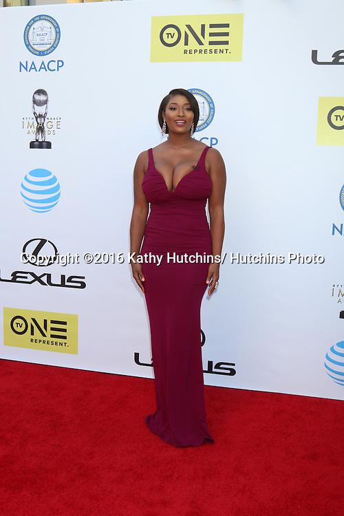 LOS ANGELES - FEB 5:  Toccara Jones at the 47TH NAACP Image Awards Arrivals at the Pasadena Civic Auditorium on February 5, 2016 in Pasadena, CA
