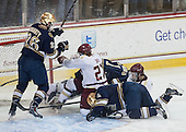 Steven Fogarty (ND - 26), Quinn Smith (BC - 27), Steven Summerhays (ND - 1), Andy Ryan (ND - 6), Isaac MacLeod (BC - 7) - The visiting University of Notre Dame Fighting Irish defeated the Boston College Eagles 7-2 on Friday, March 14, 2014, in the first game of their Hockey East quarterfinals matchup at Kelley Rink in Conte Forum in Chestnut Hill, Massachusetts.