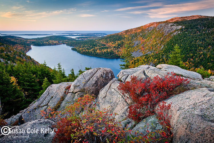 Sunrise alpenglow paints Jordan Pond in Acadia National Park, ME, USA