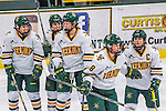 25 November 2016: University of Vermont Catamount Forward Cassidy Campeau (18), a Senior from Nepean, Ontario, celebrates scoring Vermont's 4th goal in the 3rd period against the Saint Cloud State Huskies at Gutterson Fieldhouse in Burlington, Vermont. The Lady Cats defeated the Huskies 5-1 to take the first game of the 2016 Windjammer Classic Tournament. Mandatory Credit: Ed Wolfstein Photo *** RAW (NEF) Image File Available ***