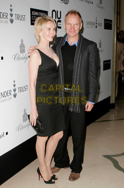 TRUDIE STYLER & STING.Lavender Trust Party, Claridge's Hotel, London, UK..March 14th, 2007.full length Trudy black dress jacket trousers couple husband wife married.CAP/AH.©Adam Houghton/Capital Pictures